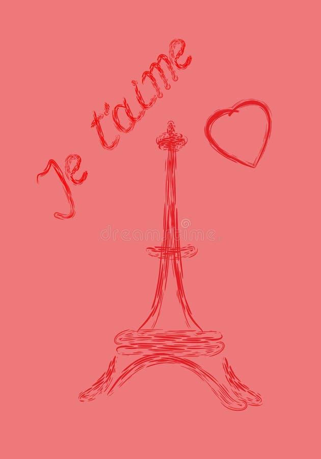 Carte de voeux de Saint-Valentin en français illustration de vecteur
