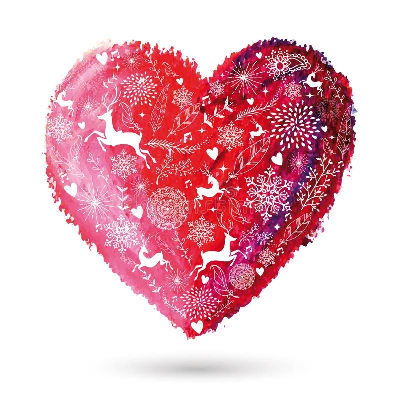 Carte de voeux de style bohème de coeur d'amour de Noël illustration libre de droits