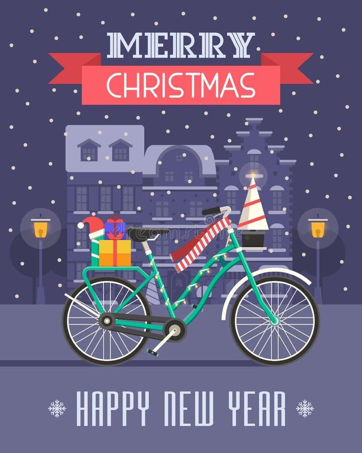 Carte de voeux de vélo de Noël illustration libre de droits