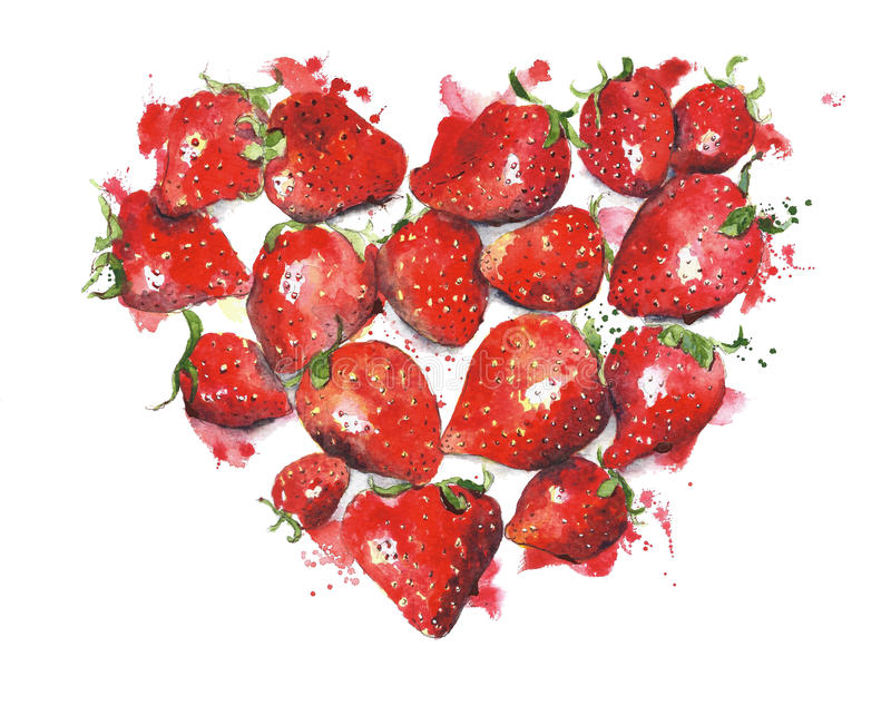 Carte de voeux de valentine d'illustration d'aquarelle de coeur de fraises photo stock