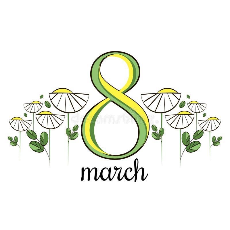 Carte de voeux de vecteur avec les marguerites blanches 8 mars carte du jour des femmes internationales photos libres de droits