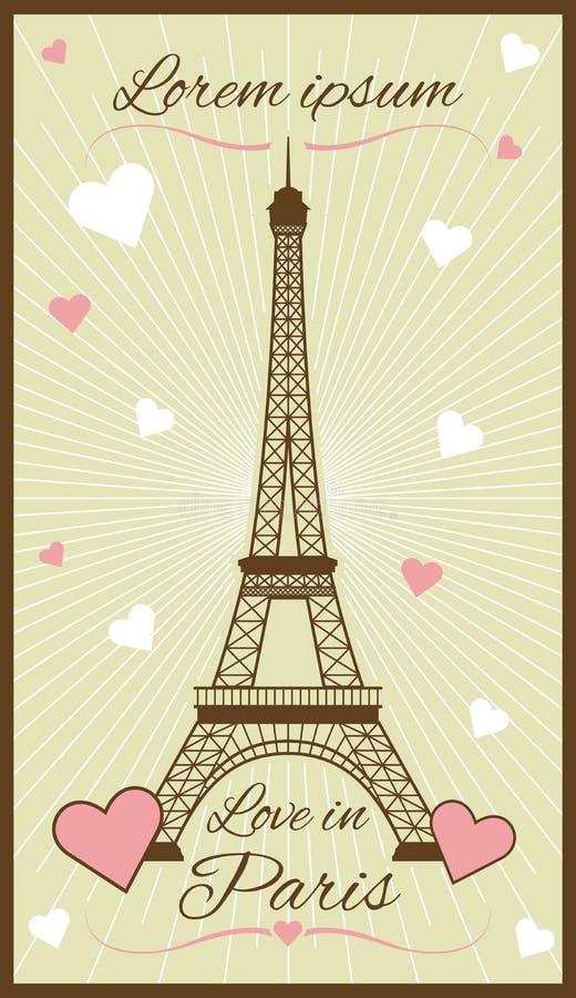 Carte de voeux de vecteur avec Tour Eiffel illustration de vecteur