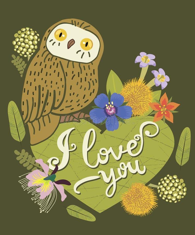 Carte de voeux de vintage avec le hibou mignon, le coeur et la guirlande florale illustration de vecteur