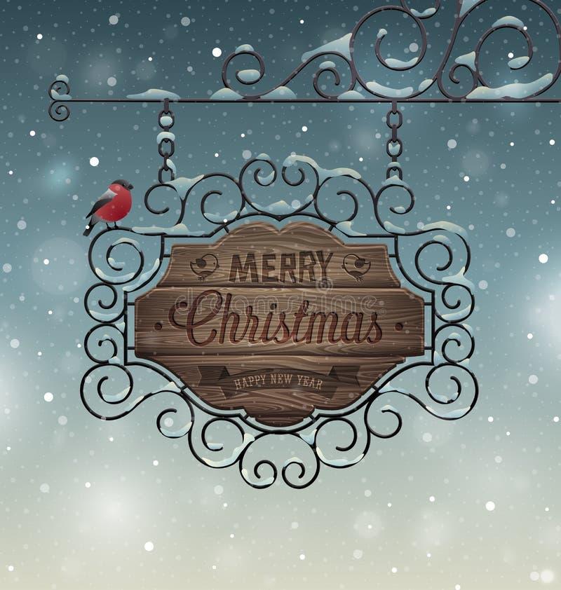 Carte de voeux de vintage de Noël - enseigne en bois illustration stock
