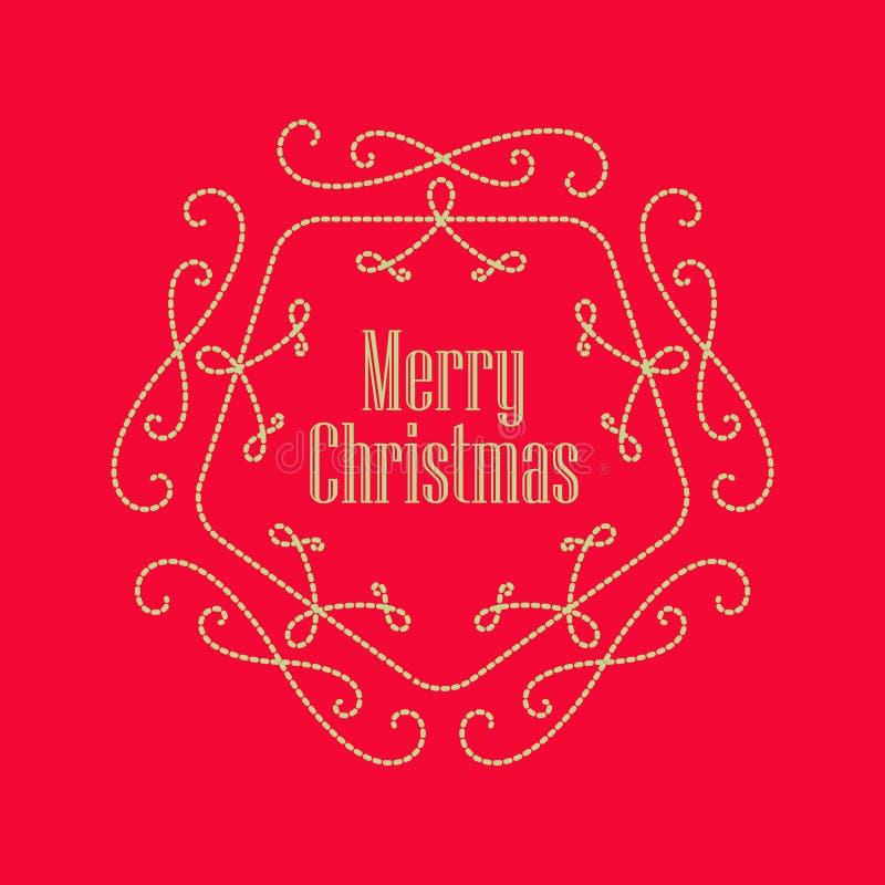 Carte de voeux de vintage de Noël WI brodés par monogramme élégant illustration de vecteur