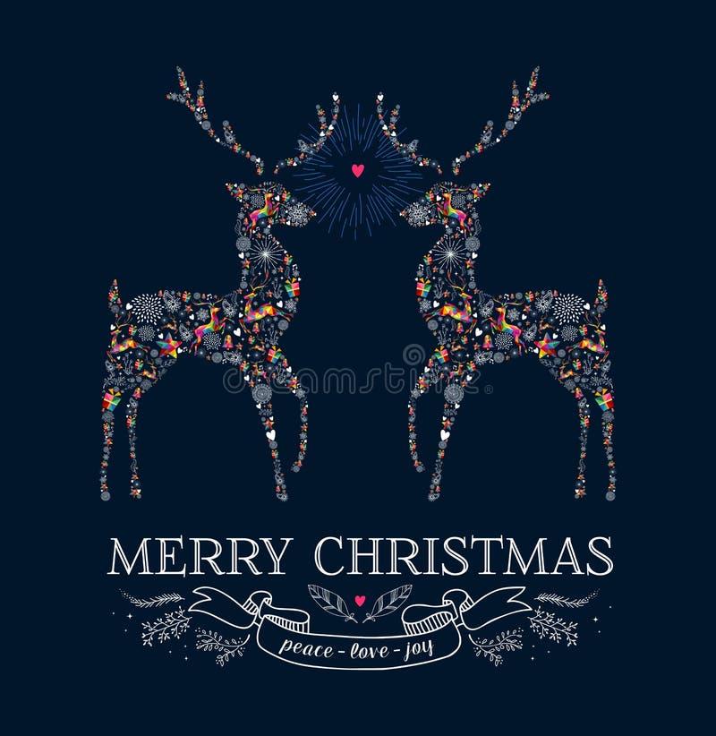 Carte de voeux de vintage de renne d'amour de Noël illustration stock