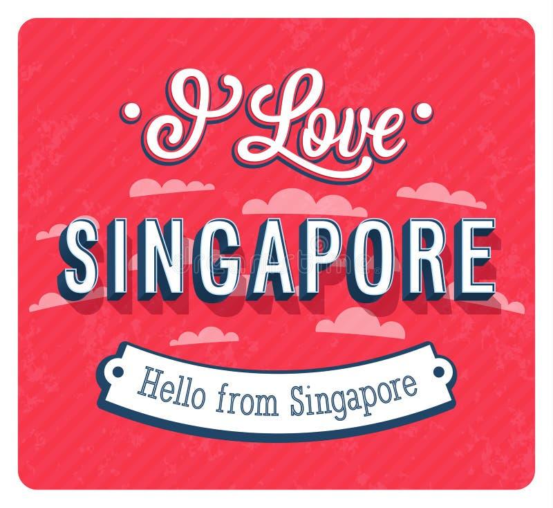 Carte de voeux de vintage de Singapour - Singapour illustration stock