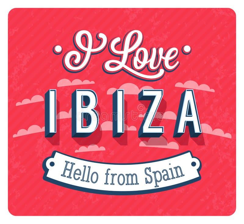 Carte de voeux de vintage Ibiza - d'Espagne illustration stock