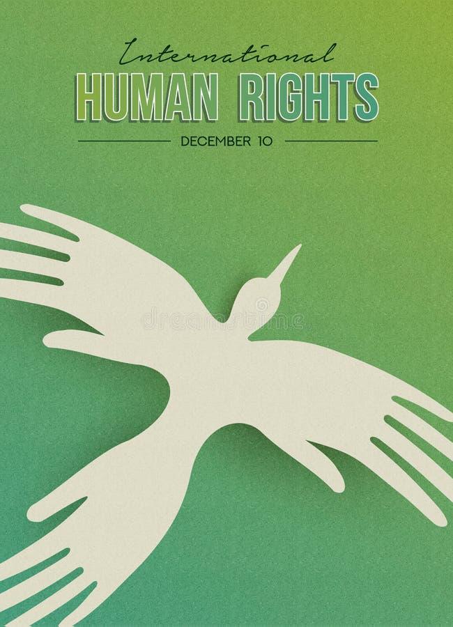 Carte de voeux de droits de l'homme d'oiseau de main de personnes illustration stock