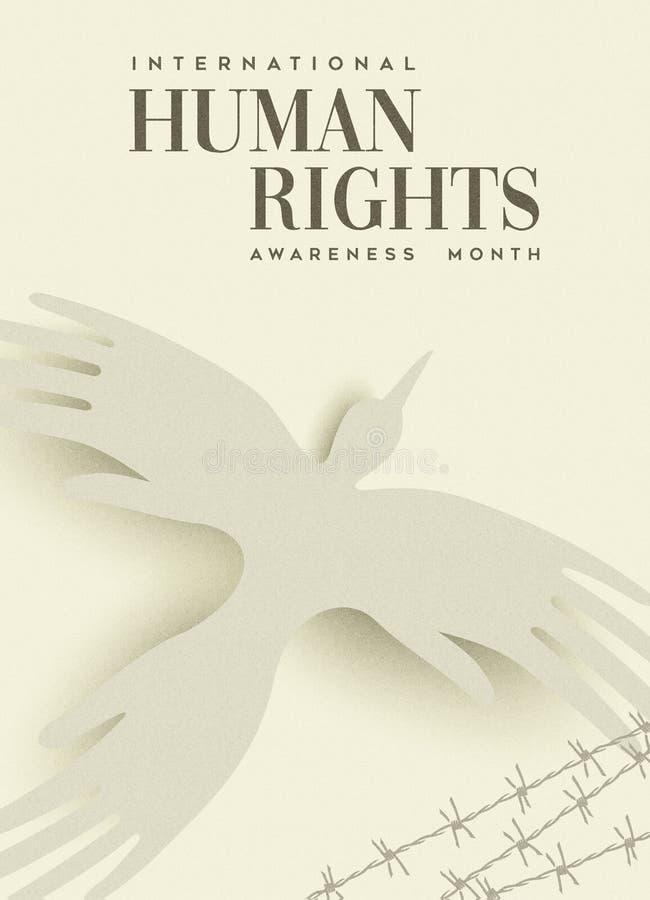 Carte de voeux de droits de l'homme d'oiseau de main de personnes illustration libre de droits