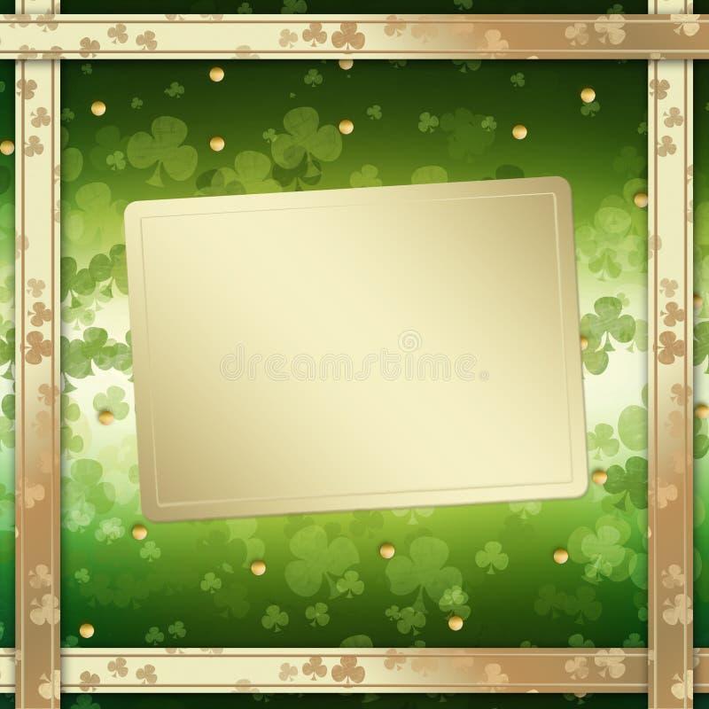 Carte de voeux du jour de St Patrick sur le fond vert illustration stock