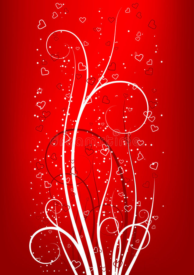 Carte de voeux du jour de Valentine avec le coeur de défilement sur le backgroun rouge illustration stock