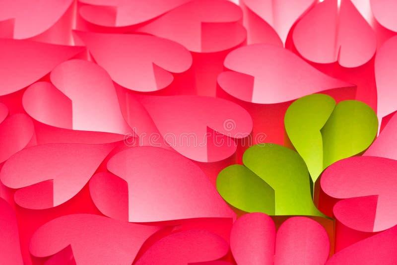 Carte de voeux du jour de Valentine de rose chaud et de vert photographie stock