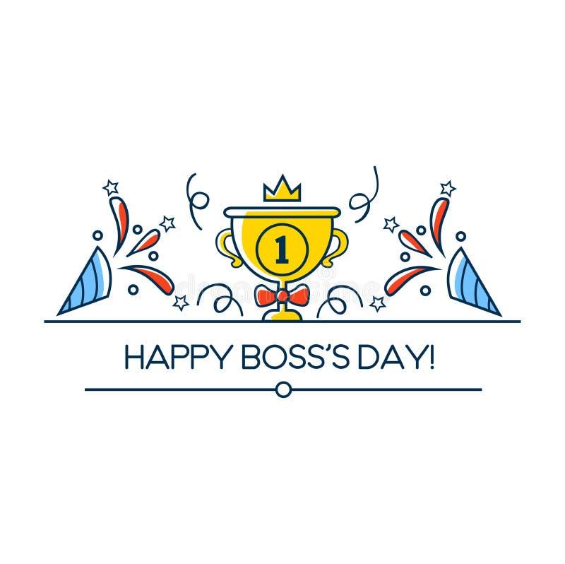 Carte de voeux du jour du patron heureux dans le style linéaire Conception d'illustration de vecteur de jour de patron avec la ta illustration libre de droits