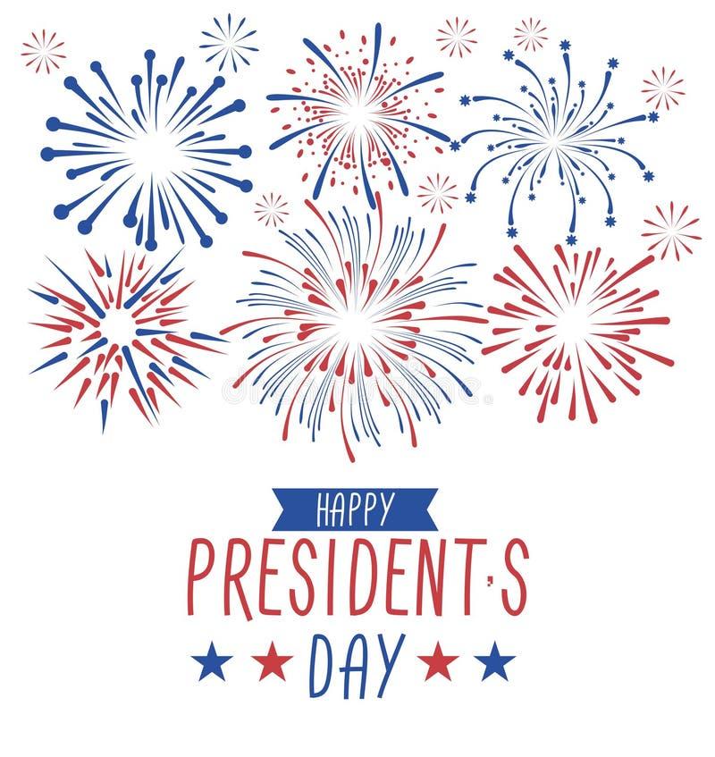 Carte de voeux du jour du président heureux avec des feux d'artifice Carte de greetind de vacances nationales des Etats-Unis Illu illustration stock