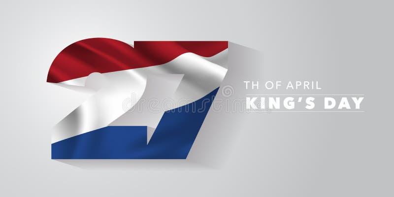 Carte de voeux du jour du roi heureux des Pays-Bas, bannière, illustration de vecteur illustration libre de droits