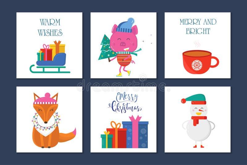 Carte de voeux du Joyeux Noël 6 avec les animaux mignons : porc, renard et illustration de vecteur