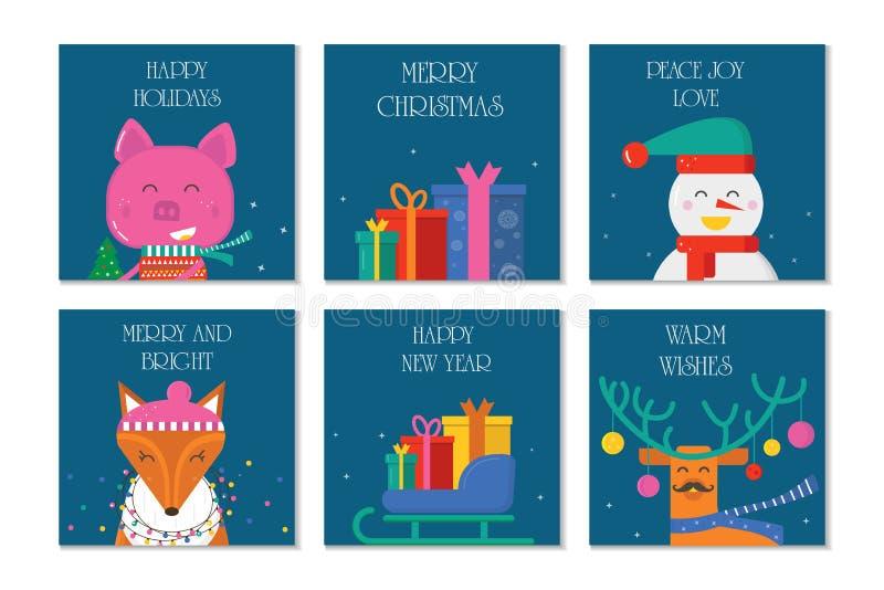 Carte de voeux du Joyeux Noël 6 avec les animaux mignons : porc, renne illustration de vecteur