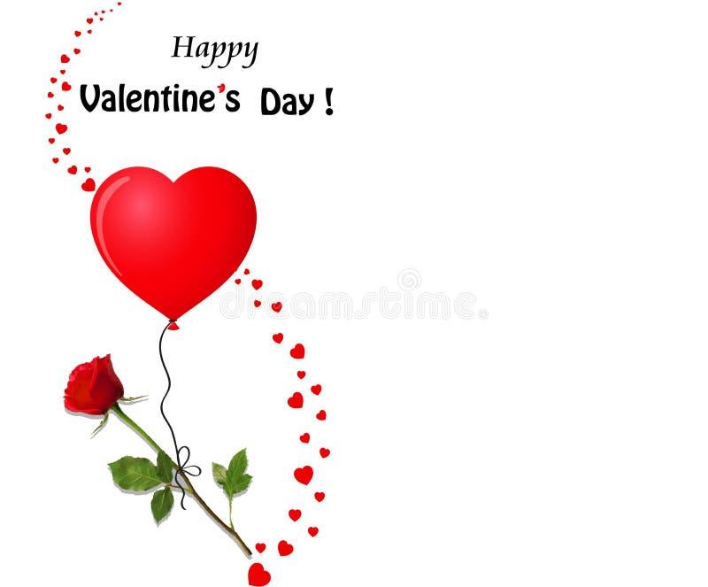 Carte de voeux du ` s de Valentine avec le vol de rose de rouge sur le shap rouge de coeur illustration libre de droits