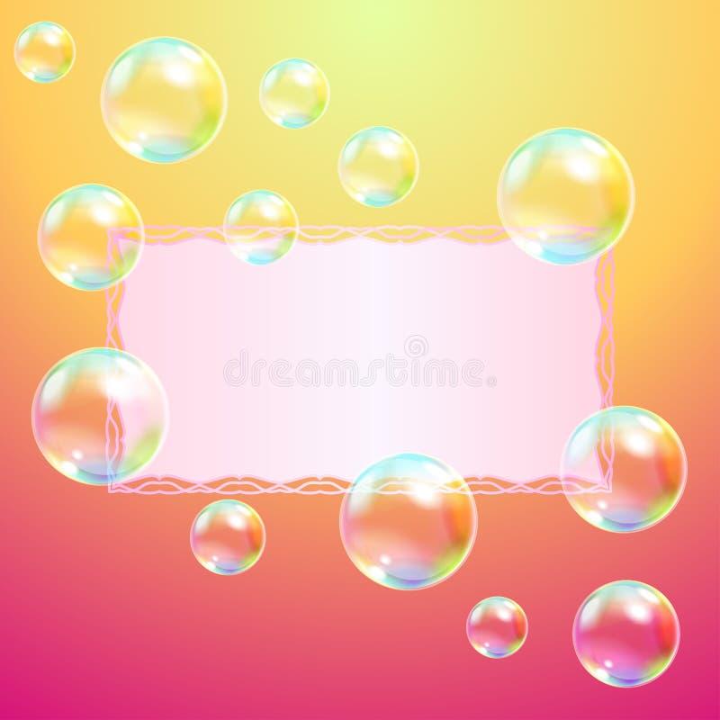 Carte de voeux et bulles de savon illustration libre de droits
