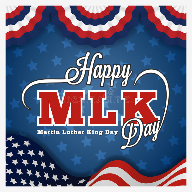 Carte de voeux et lettrage de jour de Martin Luther King illustration libre de droits