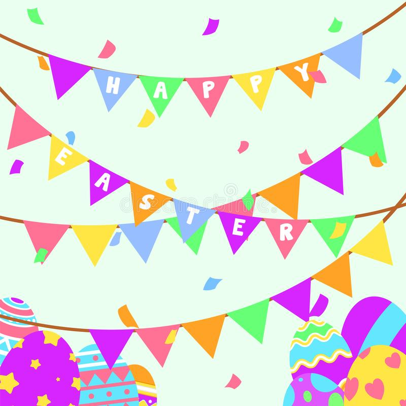 Carte de voeux et partie heureuses drôles et colorées de Pâques avec l'illustration des oeufs, de la bannière, du drapeau, de la  illustration libre de droits