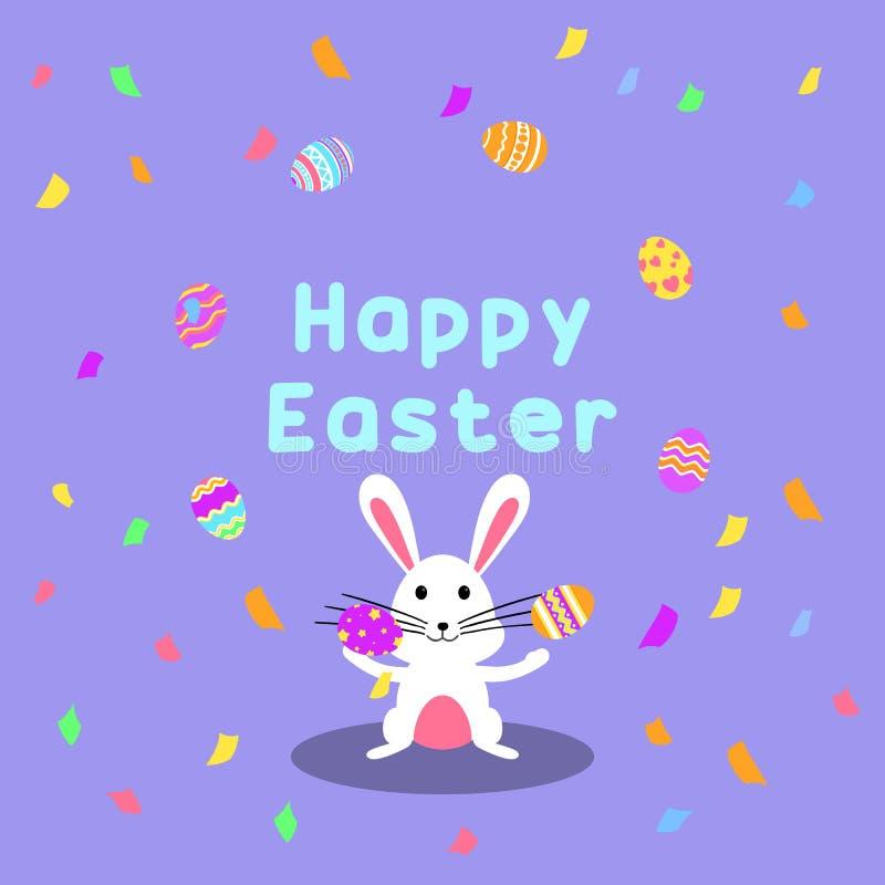 Carte de voeux et partie heureuses drôles et colorées de Pâques avec le lapin, l'illustration de lapin, les oeufs, les confettis  illustration de vecteur