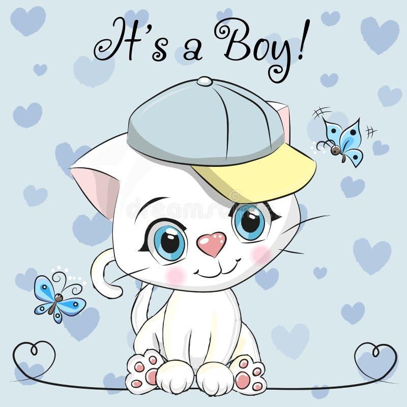 Carte de voeux de fête de naissance avec le garçon mignon de chaton illustration libre de droits