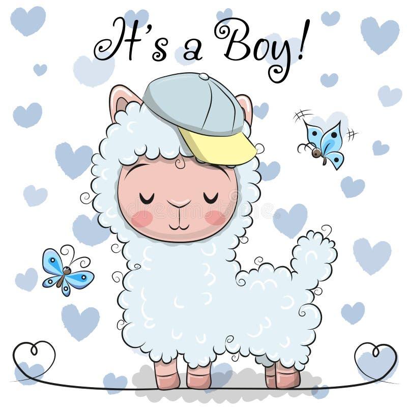 Carte de voeux de fête de naissance avec le garçon mignon d'alpaga illustration libre de droits
