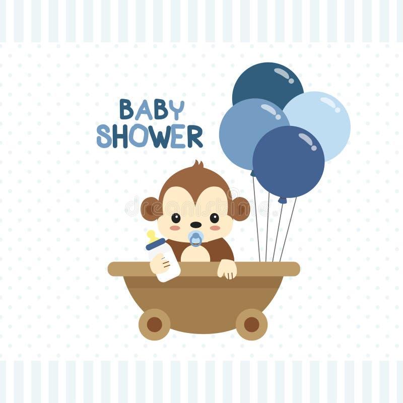 Carte de voeux de fête de naissance avec peu de singe illustration de vecteur
