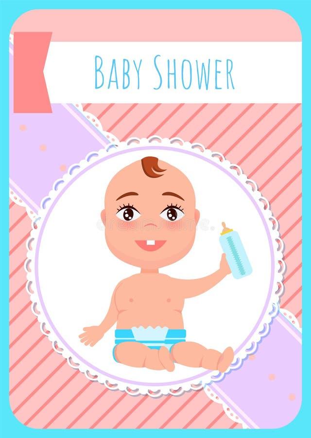 Carte de voeux de fête de naissance, enfant nouveau-né dans la couche-culotte illustration de vecteur