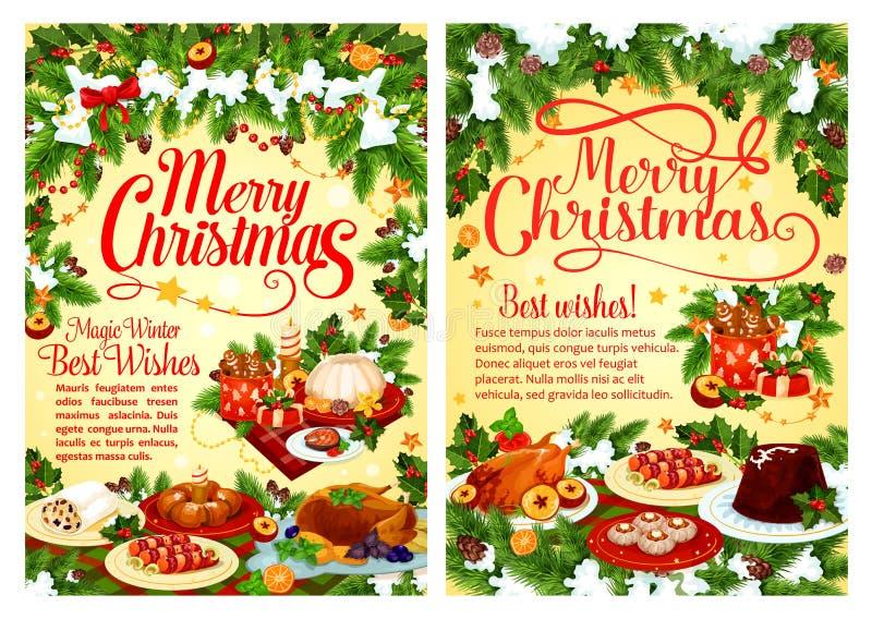 Carte de voeux de fête de plat de dîner de fête de Noël illustration libre de droits