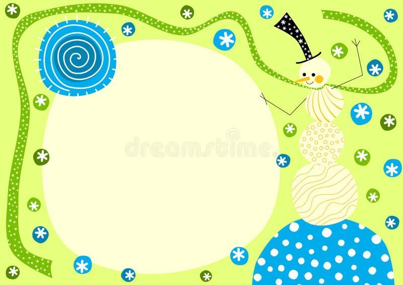 Carte de voeux de flocons de neige d'hiver de bonhomme de neige illustration libre de droits