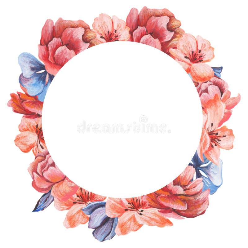 Carte de voeux florale d'aquarelle Bouquet floral d'aquarelle Trame décorative florale D'isolement sur le fond blanc illustration libre de droits
