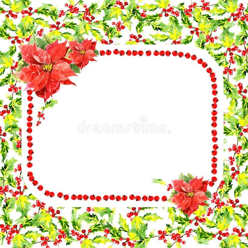 Carte de voeux florale d'aquarelle sur le fond blanc illustration libre de droits