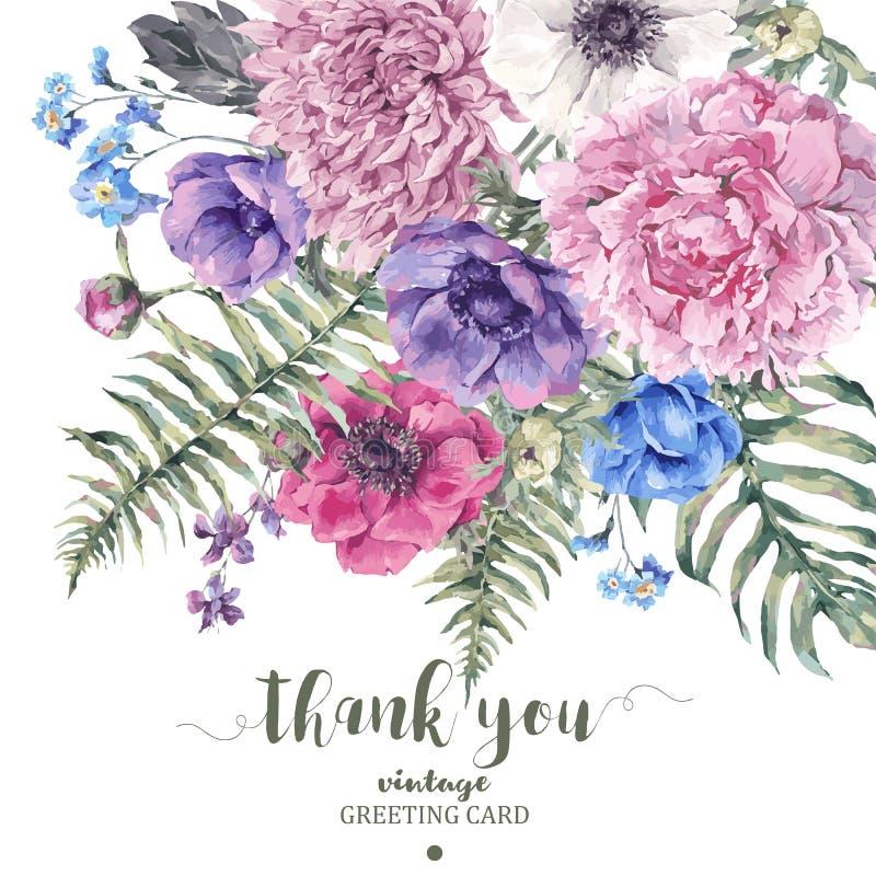 Carte de voeux florale de vintage avec des anémones illustration stock