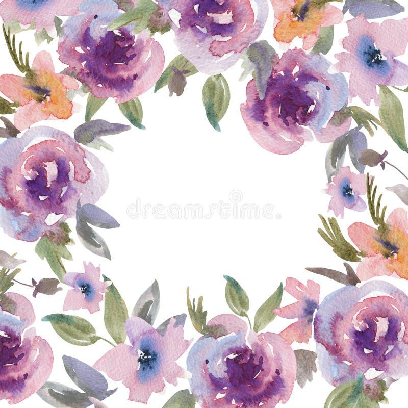 Carte de voeux florale de roses pourpres douces d'aquarelle illustration libre de droits