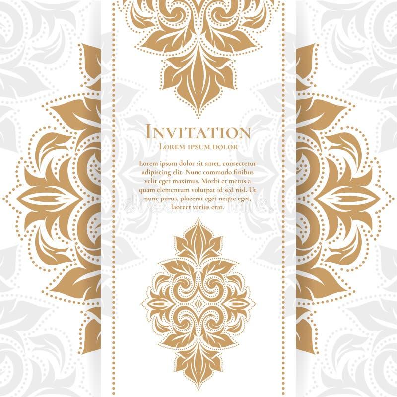 Carte de voeux florale de vintage d'or royal Calibre d'ornement de vecteur Grand pour l'invitation illustration stock