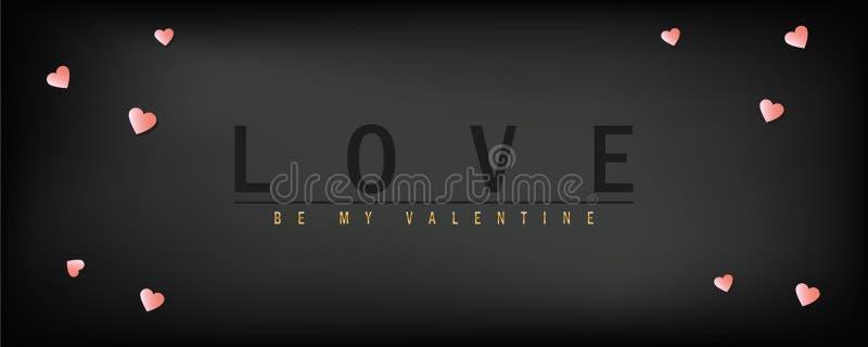 Carte de voeux foncée de jour de valentines d'amour avec la typographie et le coeur illustration de vecteur