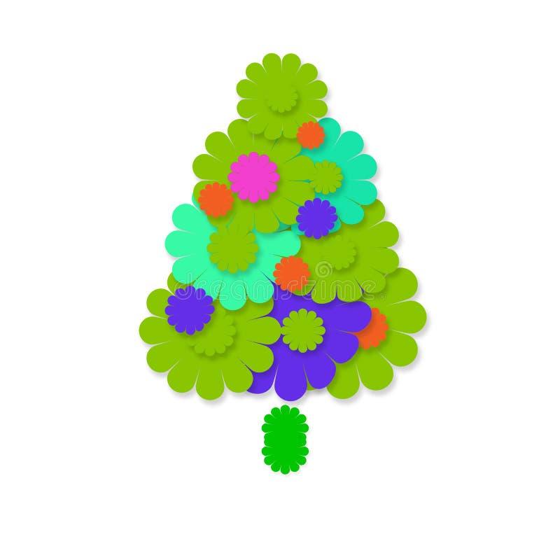 Carte de voeux gaie d'arbre de Noël illustration stock
