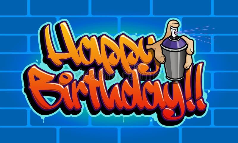 Carte de voeux de graffiti de joyeux anniversaire illustration libre de droits