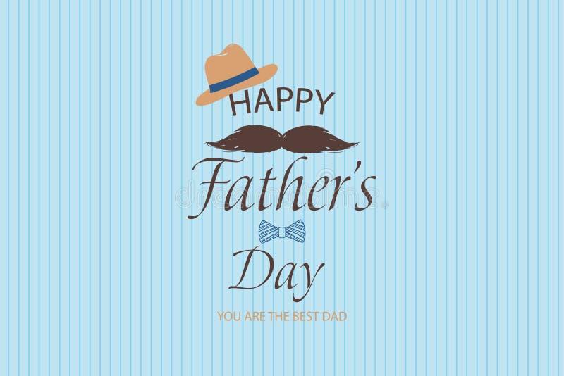 Carte de voeux heureuse de calibre de jour de pères Vous êtes le meilleur papa Bannière de jour de pères, insecte, invitation, fé illustration stock