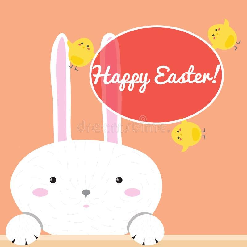 Carte de voeux heureuse colorée de Pâques avec le lapin de lapin de bande dessinée illustration stock