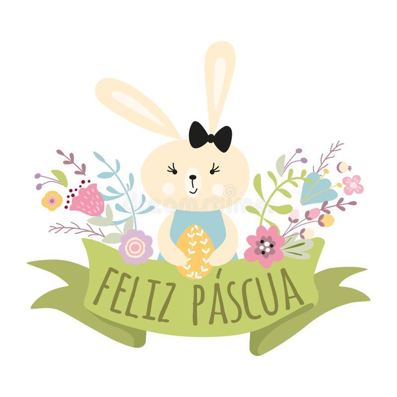 Carte de voeux heureuse colorée de Pâques avec le titre de vecteur de lapin d'oeufs et de lapin de fleurs dans l'Espagnol illustration de vecteur