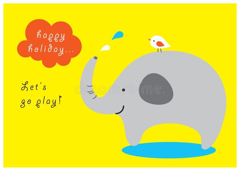 Carte de voeux heureuse d'éléphant photo libre de droits