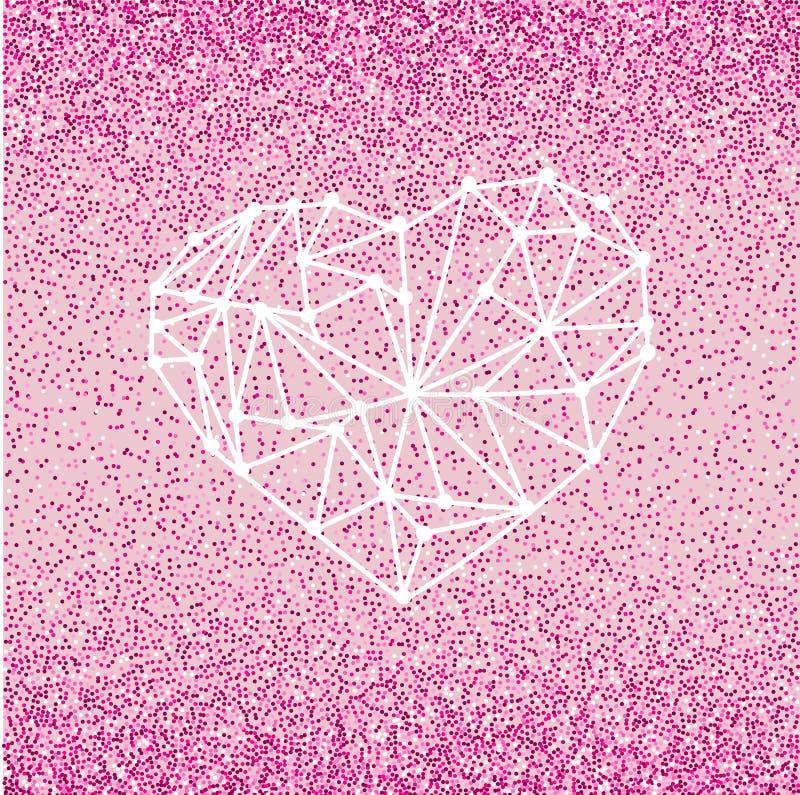 Carte de voeux heureuse d'amour de jour de valentines avec le coeur géométrique sur le fond rose avec l'effet cramoisi de scintil image stock