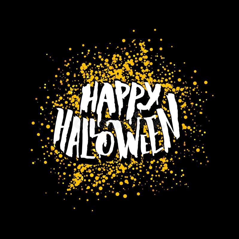 Carte de voeux heureuse de Halloween avec le lettrage illustration stock