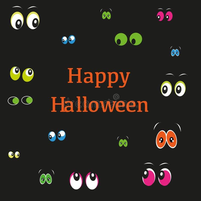 Carte de voeux heureuse de Halloween avec les yeux colorés illustration libre de droits