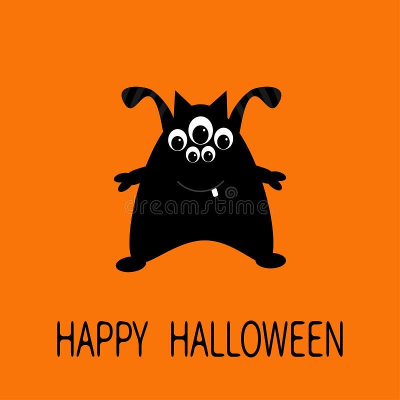 Carte de voeux heureuse de Halloween Monstre noir de silhouette avec des oreilles, dent, yeux Personnage de dessin animé mignon d illustration libre de droits