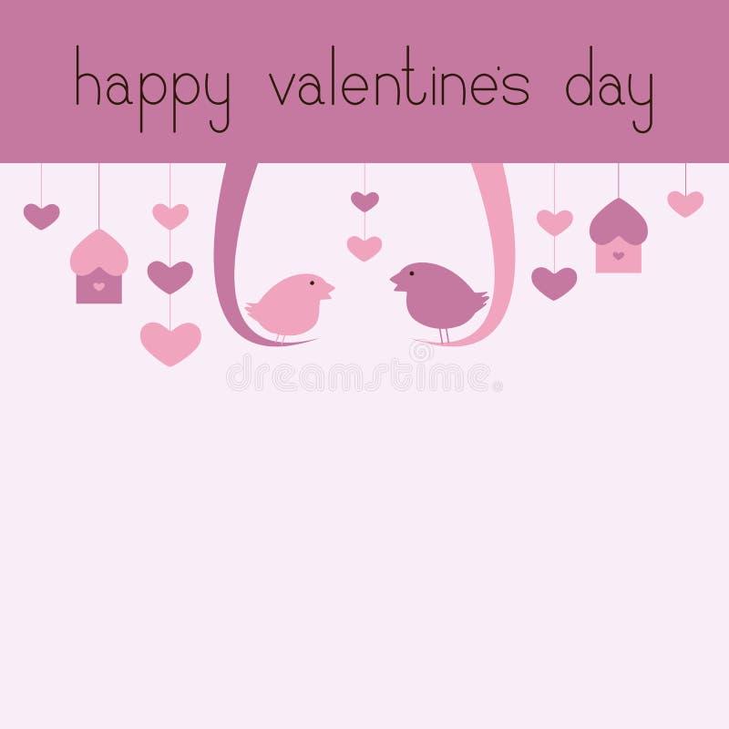 Carte de voeux heureuse de jour de Valentine's avec des oiseaux illustration de vecteur